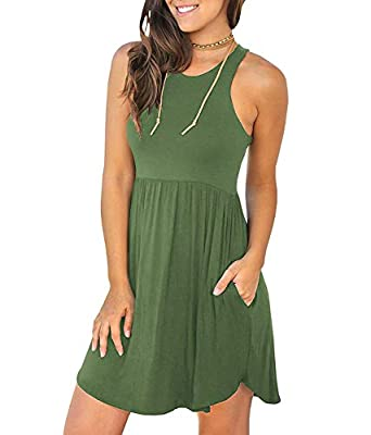 Fantastic Zone Women's Sleeveless Casual Loose Plain Dresses Casual Short Dress with Pockets