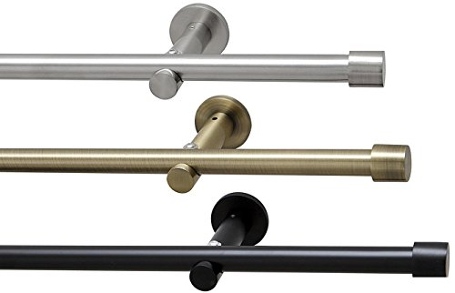 way2way 320cm (2x160cm inkl. Verbinder) Gardinenstange Ø 16mm Kappe | 1-lauf | schwarz | ohne Ringe