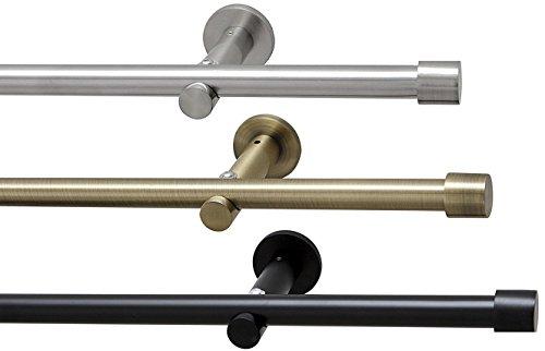 way2way 100cm Gardinenstange Ø 16mm Kappe | 1-lauf | Edelstahl-Optik | ohne Ringe