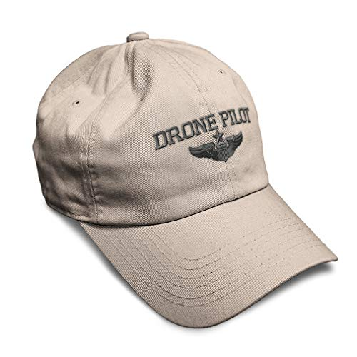 Soft Baseball Cap Drone Pilot Gray Embroidery Twill Cotton Dad Hats for Men & Women Buckle Closure Stone