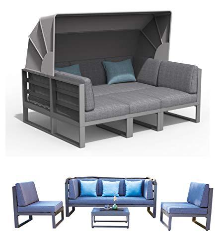 Haberkorn-Garten ALU Lounge Set Besimi Liege Sitzgruppe Bank mit Dach total flexibel