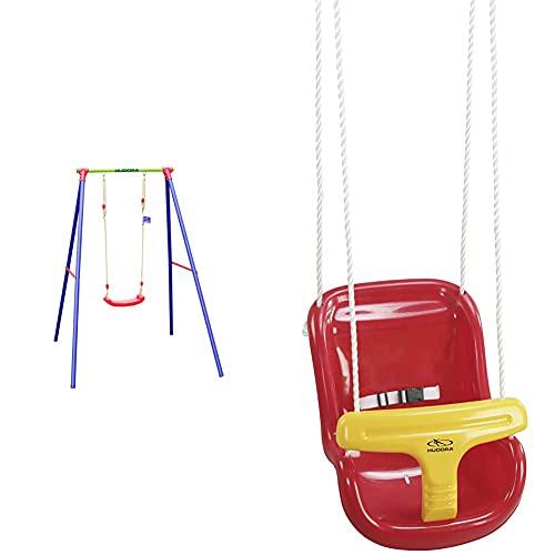 HUDORA Schaukel-Gestell HD 200, Metall mit Kinder-Schaukel - Bretschaukel aus Kunststoff - 64018 & Baby-Schaukel hoch - Schaukel - 72112