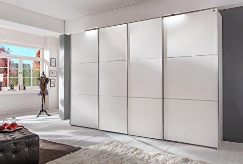 lifestyle4living Schwebetürenschrank in Alpin Weiß, 2 Synchron-Türen, 300 cm | Hochwertiger Kleiderschrank mit 4 Schwebetüren, 6 Einlegeböden & 3 Kleiderstangen