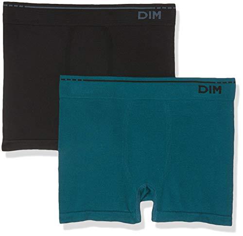 Unno DIM Basic Algodón Sin Costuras Pack X2 Dim Basic Bóxer, Negro (Vert Pin/Negro 5OL), Large (Tamaño del Fabricante: 4) 2 para Hombre
