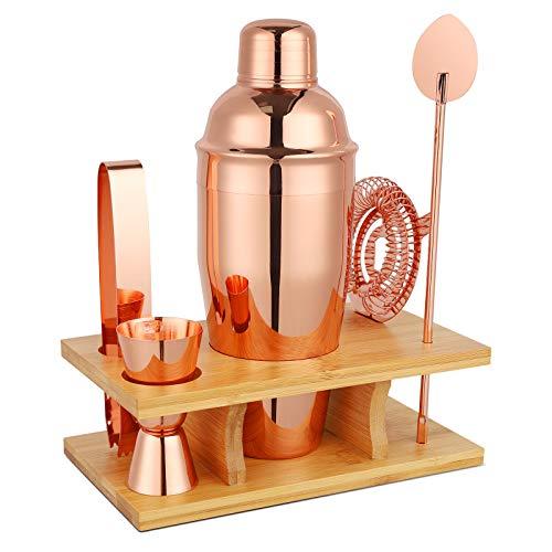 Hossejoy Hochwertiges Cocktailshaker Set, 5 Teilig Cocktailmixer Set, mit Bambus-Aufbewahrung, inkl. Cocktail-Shaker, Messbecher, Bar Löffel, Eiszange, Hawthowe Strainer (Roségold)