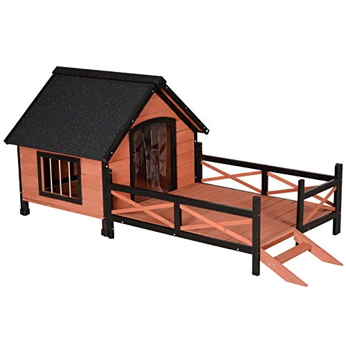 Pawhut Hundehütte, Hundehaus mit Terrasse, Asphaltdach, Fenster, Massivholz, Braun, 91 x 194,5 x 83 cm