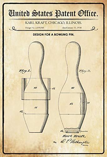 FS Patent Entwurf für einen Bowlingpin Blechschild Schild gewölbt Metal Sign 20 x 30 cm