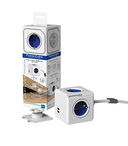 allocacoc PowerCube DuoUSB Extended DE Blau, 4 fach Steckdosenverteiler mit 2,1 A USB Ladestrom, Weiß Blau