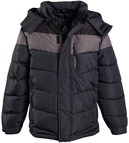 Reebok Boys Outerwear – Heavyweight Thick Winter Bubble Puffer Jacket, Black/Medium Grey/Charcoal,...