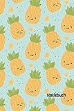 Notizbuch: Ananas Notizbuch | 6x9 Zoll DIN A5 | 100 Seiten liniert | Obst Notizheft | Ananasmuster Tagebuch | Sommer Notebook