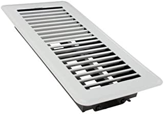 Rocky Mountain Goods Floor Register Vent - 4-Inch by 10-Inch - Easy adjust air supply lever - Premium finish - Heavy duty to allow walk on use (White)