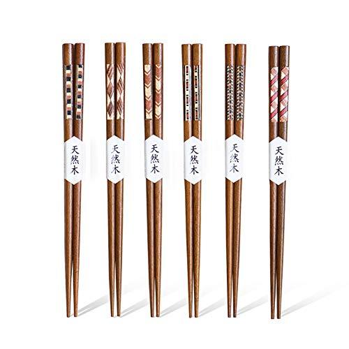 Leura EssstäBchen 6 Paare Wiederverwendbare NatüRliche Japanische Holz EssstäBchen Waschbar FüR GeschirrspüLer 23Cm Bambus EssstäBchen Chinesische Geschirr Set