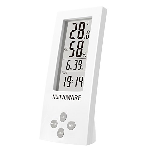 Nuovoware Thermometer Hygrometer Clock, Desktop All-in-one High Precision Digital Instant Read Hygro-Thermometer Timer, Temperature and Humidity Meter with Transparent LCD Display, White