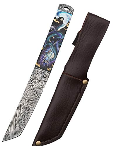 Carimee Fixed Blade Knives -Luxury Damascus Outdoor Survival EDC Gentleman Knife Premium 9Cr18MoV Steel with Sheath Full Tang Blade - Purple Dragon Patterned