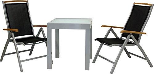 IB-Style - DIPLOMAT-Quadro S Gartengarnitur | 5 Kombinationen 2 Farben - mit 2 Klappstühlen | Alu SILBERMATT + TEAKHOLZ + Textilen SCHWARZ | Ausziehtisch mit Sicherheitsglas 65 - 130 cm | Gartenmöbel Hochlehner Tisch | 3-teilig