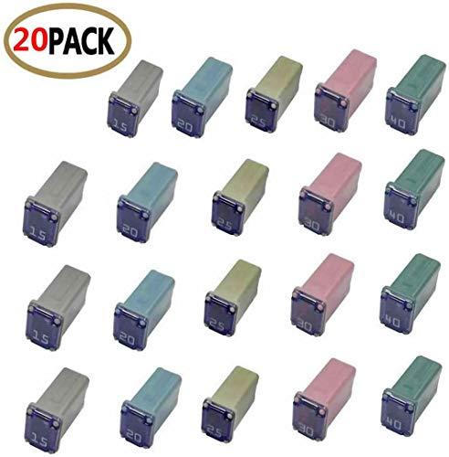 20 pc Automotive MCASE Mini Box Shaped Cartridge Fuse Kit for Cars, Trucks, and SUVs