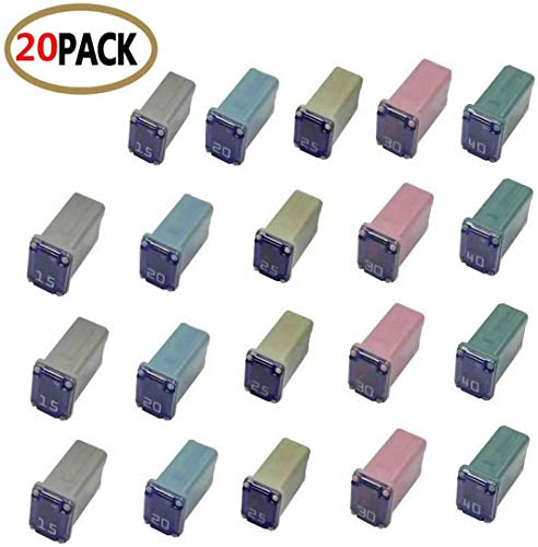 20 pc Automotive MCASE Mini Box Shaped Cartridge Fuse Kit for Cars, Trucks, and SUVs
