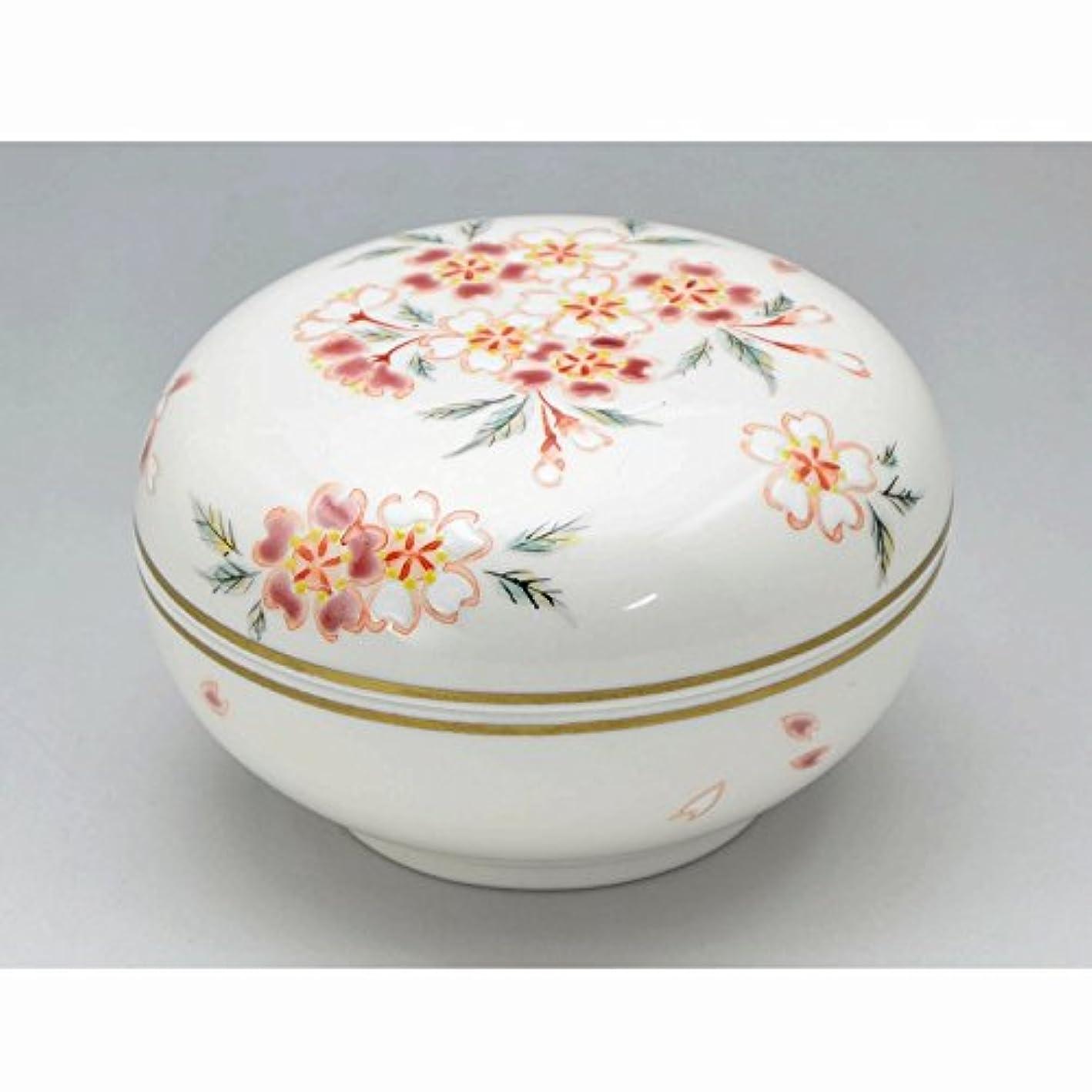 ウール不安定な結び目京焼?清水焼 磁器 香合 花桜 紙箱入 Kiyomizu-kyo yaki ware. Japanese porcelain kogo incense burner hanazakura with paper box.