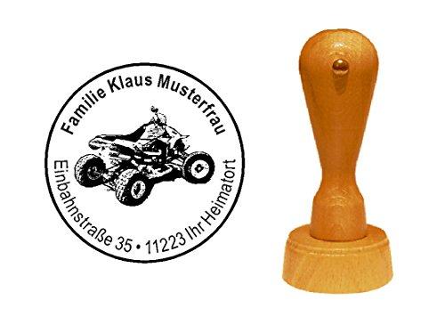 Stempel houten stempel motiefstempel « QUAD » met persoonlijk adres - motorcross cross