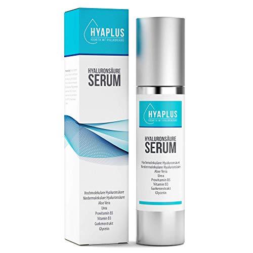 Hyaluron Serum hochkonzentriert - Anti Aging Serum mit 2x Hyaluronsäure, Aloe Vera, Gurkenextrakt, Vitamin B5, B3, Glycerin, Urea - Alle Hauttypen, 50ml Naturkosmetik,...