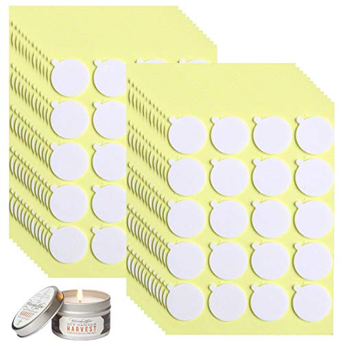 480PCS Candle Wick Stickers, Heat Resistance Double-Sided Stickers with The Little ''Tail'', Adhere Steady in Hot Wax,Wick Stickers for Candle Making