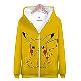 Pikachu Niños Niñas Sudaderas con Capucha y Cremallera 3D Impreso Hoodies Sweatshirt Bolsillos de Mangas Largas (9,150)