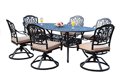 GrandPatioFurniture.com CBM Patio Elisabeth Collection Cast Aluminum 7 Piece Dining Set with 6 Swivel Rockers SH216-6S cbm1290
