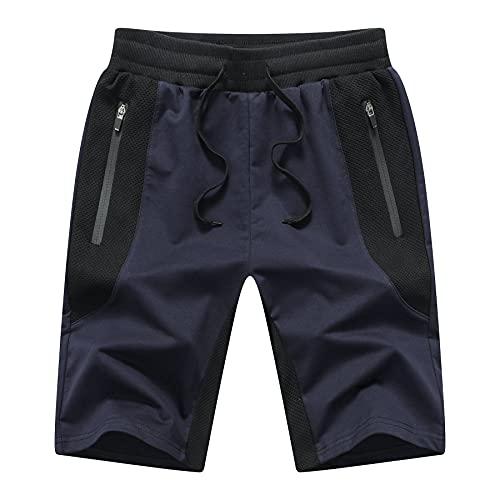 Tansozer Pantaloncini Uomo Sportivi Estivi Cotone Pantaloncini Corsa Uomo Running Palestra Shorts Blu XL