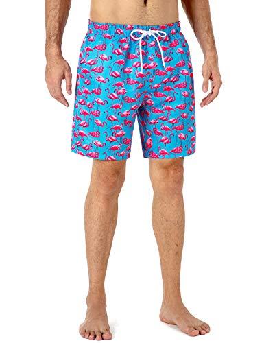 NAVISKIN Bañadores de Natación UPF 50+, Pantalones Cortos Ligeros de Playa para Hombres, Shorts Secado Rápido de Surf Voleibol de Playa 18cm Flamenco L