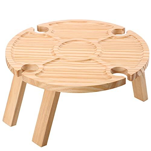 Mesa de vino plegable de madera, redonda al aire libre plegable mesa de vino de picnic con soporte de vidrio, mesa portátil de estante de vino de playa, para camping, playa, jardín, viajes