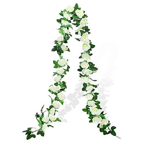 Cotemdery Flores falsas rosas artificiales de seda para colgar guirnaldas de arco de decoración floral para el hogar, boda, paquete de 2 unidades de 15 pies (blanco)