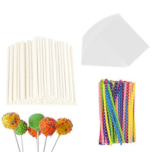 300 Pieces Lollipop Set, 100PCS Parcel Bags + 100 Pieces Treat Sticks + 100 Pieces Colorful Metallic Wire for Lollipops Candies Chocolates and Cookies