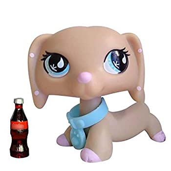 QY lps Dachshund #909 Tan and Pink Spots Dog with Blue Drip Eyes with lps Accessories Cola Collars Kids Gift
