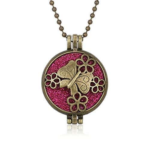 RTYGH Aromatherapie Diffusor Halskette Vintage Flower Butterfly Open Medaillon Aroma Anhänger Parfüm ätherisches Öl Diffusor Halskette-4