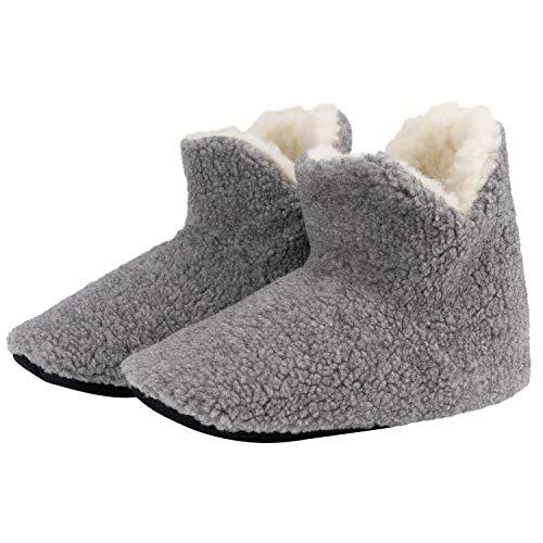 Hausschuhe Wolle - Wollschuhe aus Schurwolle Schafwolle mit Rutschfester Sohle - Fußwärmer (grau) (42/43 EU, numeric_42)