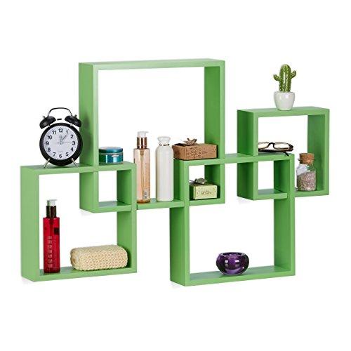 Relaxdays Würfelregal 4er Set, Hängeregal Cube für Wand, freischwebendes Wandboard groß, MDF, HBT: 92x62,5x10cm, grün