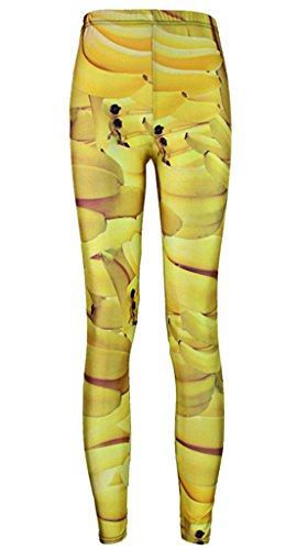 Toyobuy Tattoo One Size XS-M Dehnbar Damen Hüfthose Leggins Jeggings Treggings Engen Hosen Banane Gelb