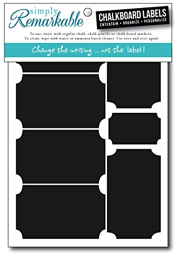 "Simply Remarkable Reusable Chalk Labels - 18 Ticket Shape 3.25"" x 1.75"" Adhesive Chalkboard Stickers, Light Material with Removable Adhesive and Smooth Writing Surface. Can be Wiped Clean and Reused, For Organizing, Decorating, Crafts, Personalized Hostess Gifts, Wedding and Party Favors"