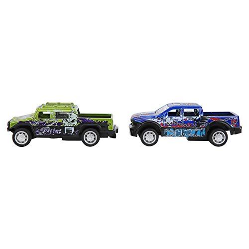 Modelo de camión de simulación, Modelo de Coche, plástico de aleación de tracción Fuerte 1:64 para Adultos y niños(Devil Pickup (a Set of 6 Models))