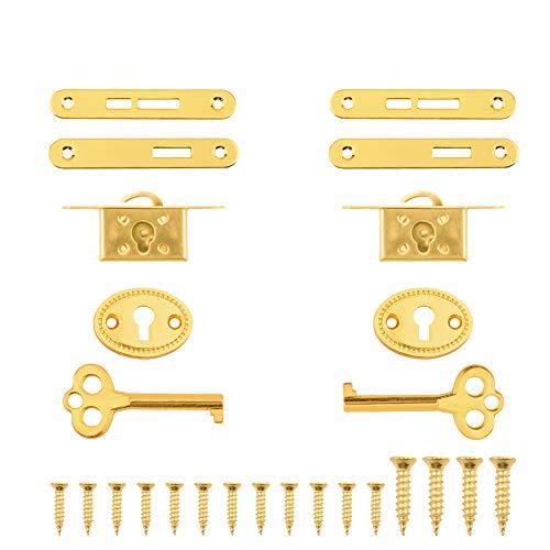 INCREWAY Cerraduras de gabinete antiguas, 2 juegos de exquisitos joyeros decorativos con llaves, aleación de zinc, pequeñas cerraduras duraderas para armarios de muebles (oro)