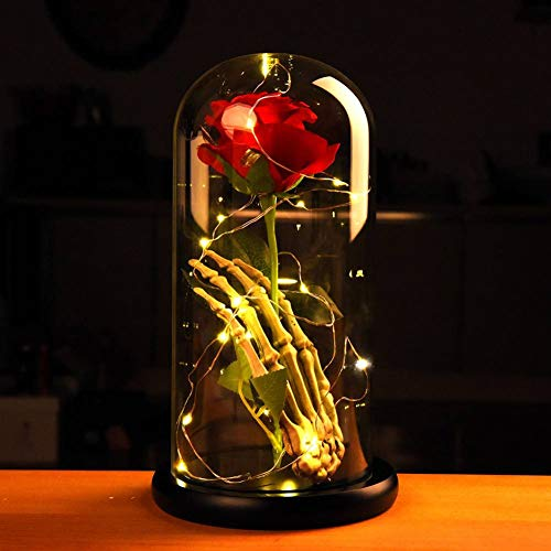 Norbi Beauty and The Beast Rose Skull Hand Led Light with Eternal Flower Rose in Glass Dome on Paint Base Gift for Valentine's Day Christmas Wedding Anniversary Birthday A2