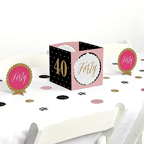 Big Dot of Happiness Chic 40th Birthday - Pink, Black and Gold - Birthday Party Centerpiece & Table Decoration Kit