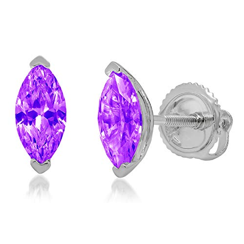0.9ct Marquise Cut Solitaire Natural Purple Amethyst gemstone Unisex Designer Stud Earrings Solid 14k White Gold Screw Back conflict free Jewelry