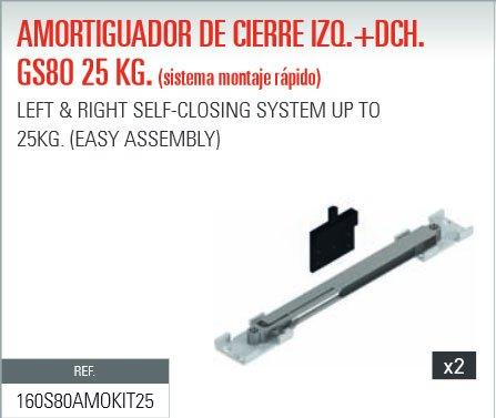 ADINOR SISTEMA MONTAJE RAPIDO AMORTIGUADOR (GS80) CIERRE 25Kg PUERTAS CORREDERAS DCH + IZQ (2 uds.)