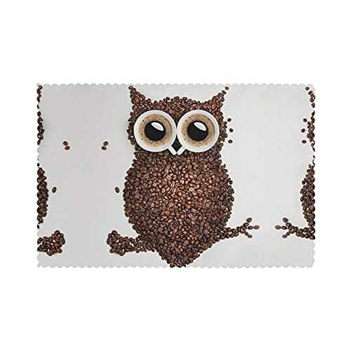 WANGJINGHUA Placemats Coffee Bean Owl Print Set of 4 Washable Heat Resistant Dining Table Place Mats for Dining Table 30X45CM