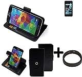 K-S-Trade® Case Schutz Hülle Für Archos Sense 47X + Bumper Handyhülle Flipcase Smartphone Cover Handy Schutz Tasche Walletcase Schwarz (1x)
