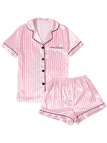 LYANER Women's Striped Silky Satin Pajamas Short Sleeve Top with Shorts Sleepwear PJ Set Pink Small