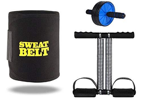 Effingo Sweat Slimming Belt with Other Fitness Equipment Waist Trimmer Fat Burner Belly Tummy Body Slimming Belt for Men & Women (Free Size) (Sweat Belt + AB Wheel + Tummy Trimmer)
