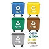 Haberdashery Online Etiquetas Adhesivas para Reciclaje Personalizadas | 5 Pegatinas con tu Texto para la gestión de residuos Modelo: XS (XS)
