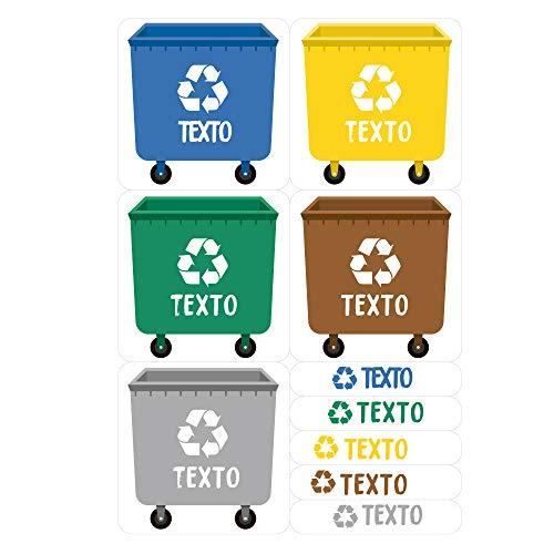 Haberdashery Online Etiquetas Adhesivas para Reciclaje Personalizadas   5 Pegatinas con tu Texto para la gestión de residuos Modelo: XS (XS)